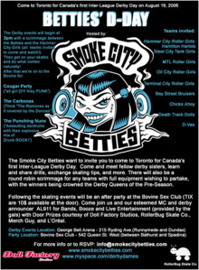 Poster for Betties' D-Day. Held in August 2006, it was the first tournament in Canadian flat-track roller derby.
