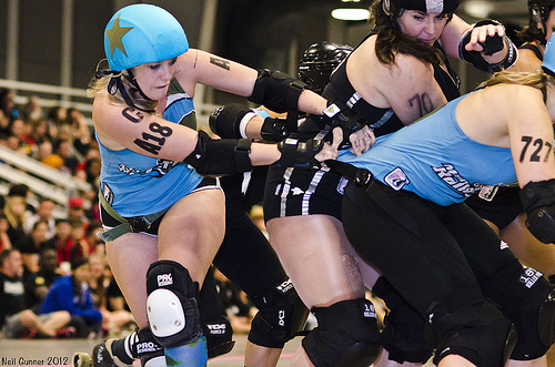 """If I'm having to use my teammates to try to claw my way through, it's probably because I'm under heavy attack. That's how it feels when you're playing against Windy City."" - Minnesota's Juke Boxx (now with London) on facing  Windy City in the final of the 2012 WFTDA North Central Regional Championship."