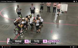 Montreal and Tri-City prepare for the opening jam of last year's all-Canadian playoff showdown. (From WFTDA.TV)
