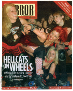 Cover image from the January/February 2007 issue of the Mirror, featuring a preview of Montreal's first game, a pre-season showdown with Toronto's Gore-Gore Rollergirls,