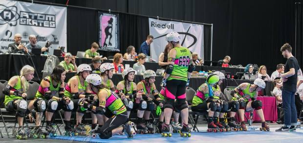 Montreal's home bench at Centre Pierre Charbonneau, site of a 2016 WFTDA Division 1 playoff tournament. (Photo by Sean Murphy)